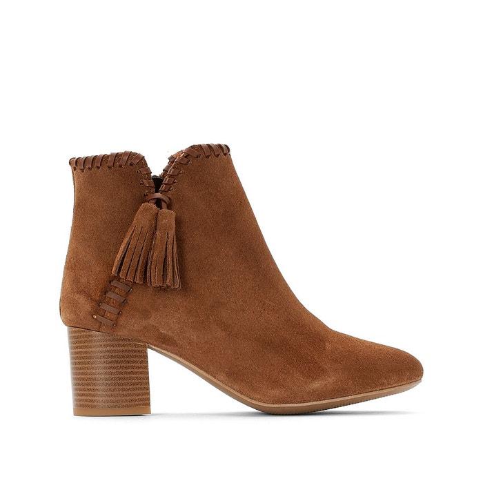 Boots en cuir à pompons, liseré torsadé camel Castaluna | La