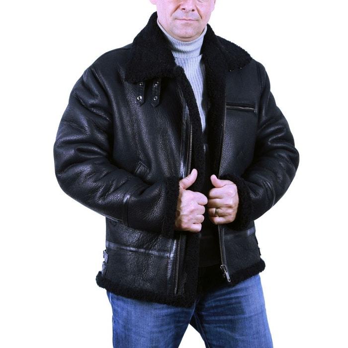 Blouson cuir bombardier 100 % mouton retourné noir Fashion