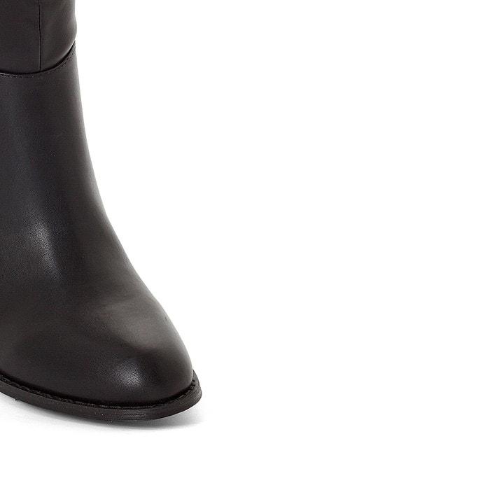 Bottes bi matière à talon haut, pied large 38 45 noir La