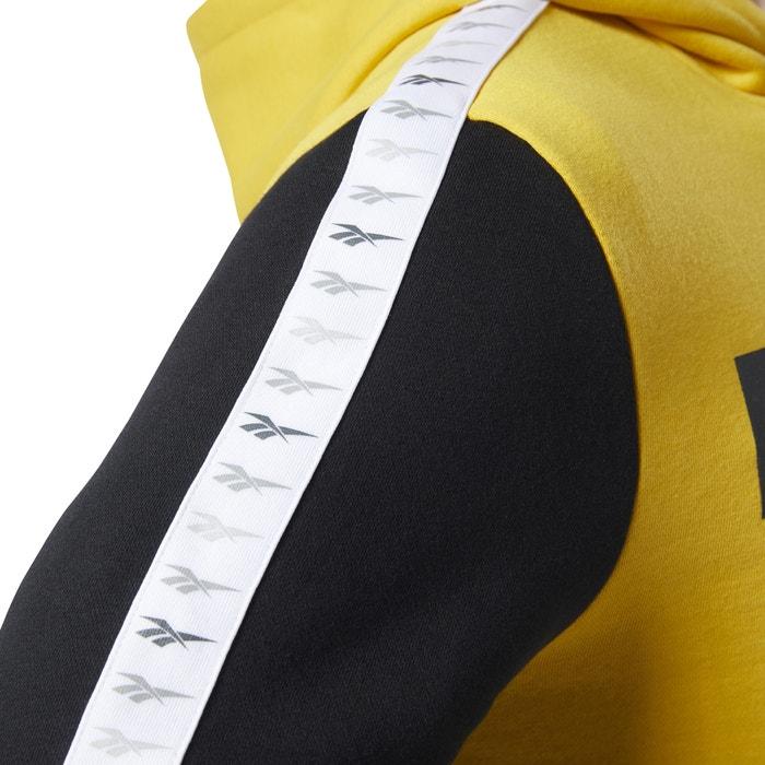 pull reebok noir et logo jaune