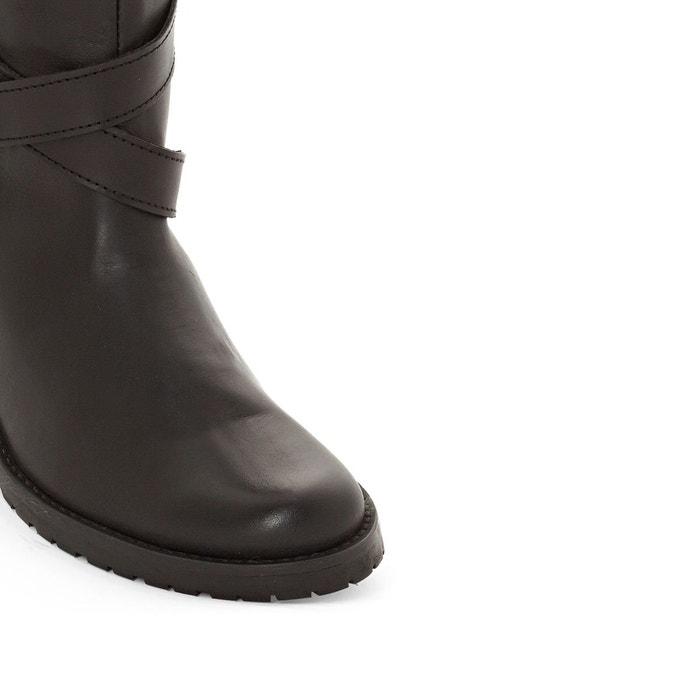 Botte style cavalière à sangles, pied large 38 45 noir La