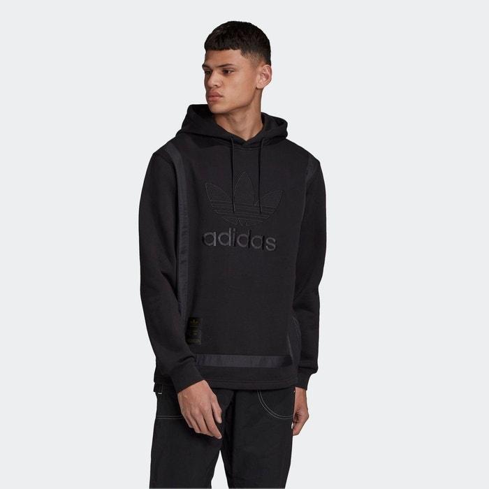 Sweat shirt à capuche warm up noir Adidas Originals   La Redoute