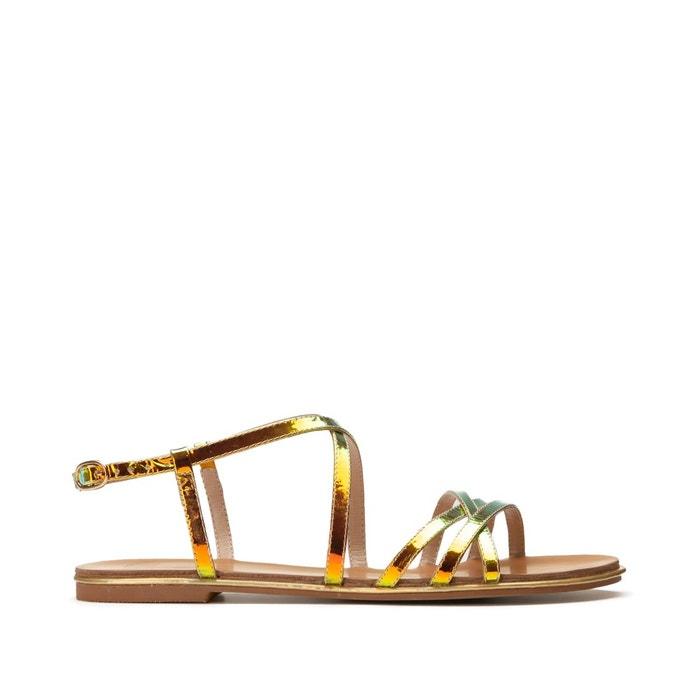 Sandales plates iridescentes à brides croisées
