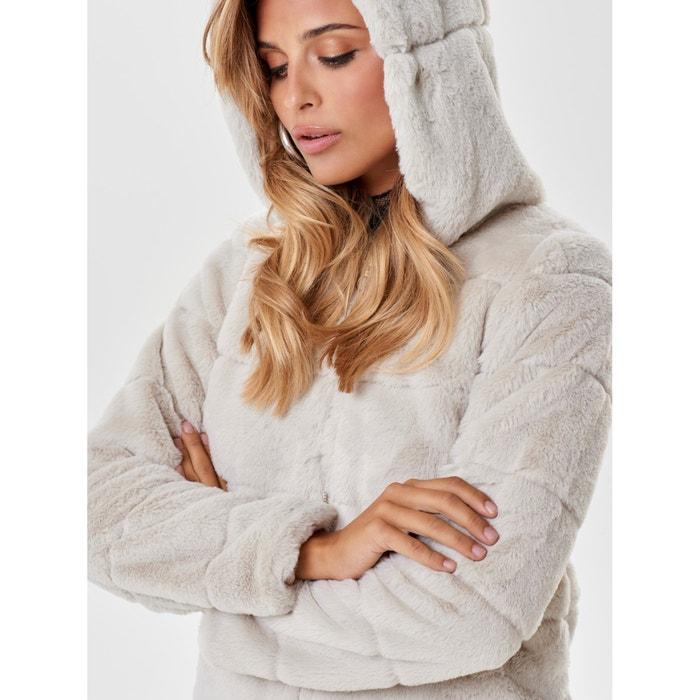 competitive price af1ea f5142 Giubbotto corto con cappuccio effetto pelliccia Only | La ...