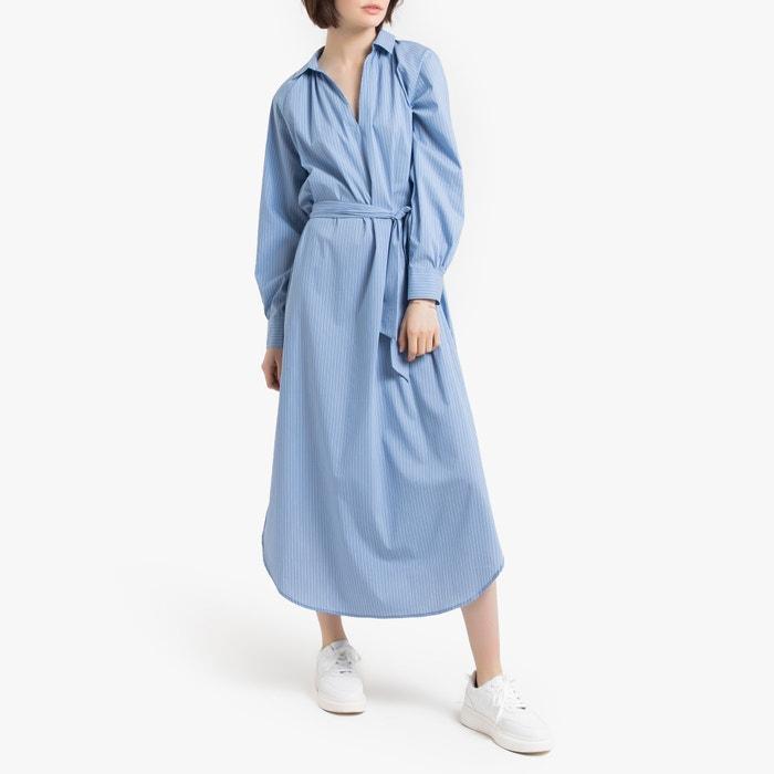 venta caliente barato salida de fábrica diseñador nuevo y usado Vestido largo a rayas, de manga larga rayas azul/blanco La ...