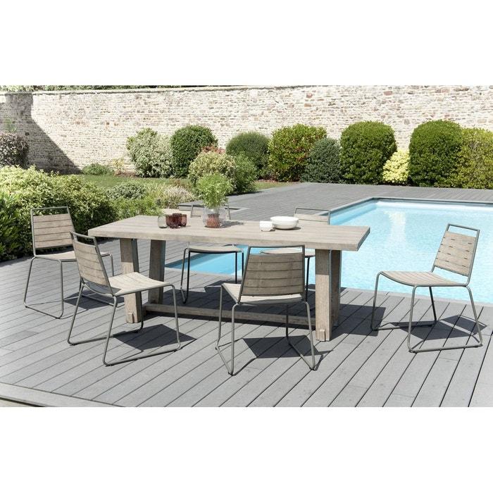 Salon De Jardin Table D Exterieur Rectangulaire En Bois Teck Grise Campagne 200x90cm 6 Chaises Empilables Detroit