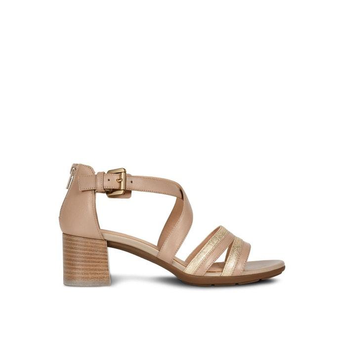 Sandales à talons respirantes en cuir marykarmen taupe clair
