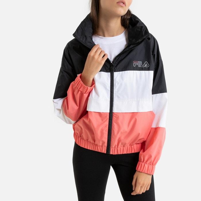 Veste zippée à col montant agrata avec logo noir blanc rose