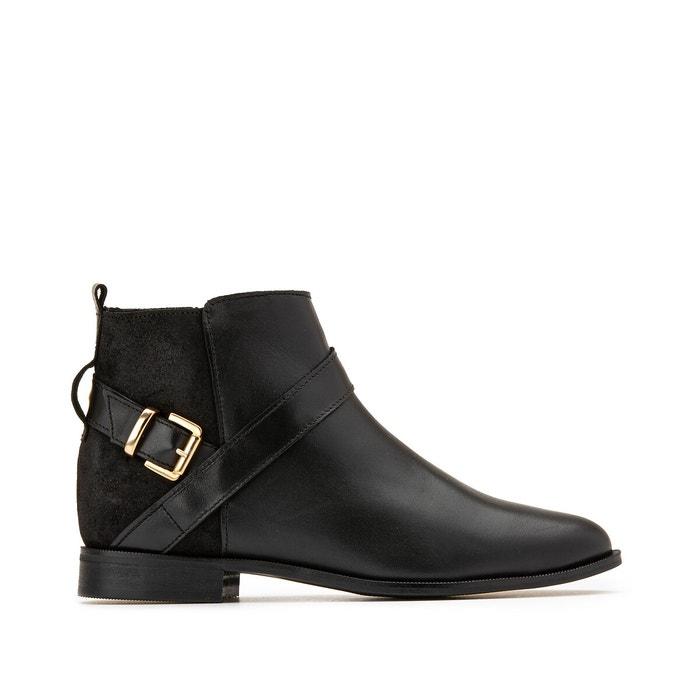 Boots zippés en cuir talon plat noir Anne Weyburn   La Redoute