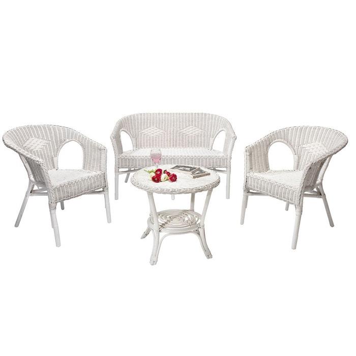 Salon d\'intérieur chris blanc en osier blanc Rotin Design ...