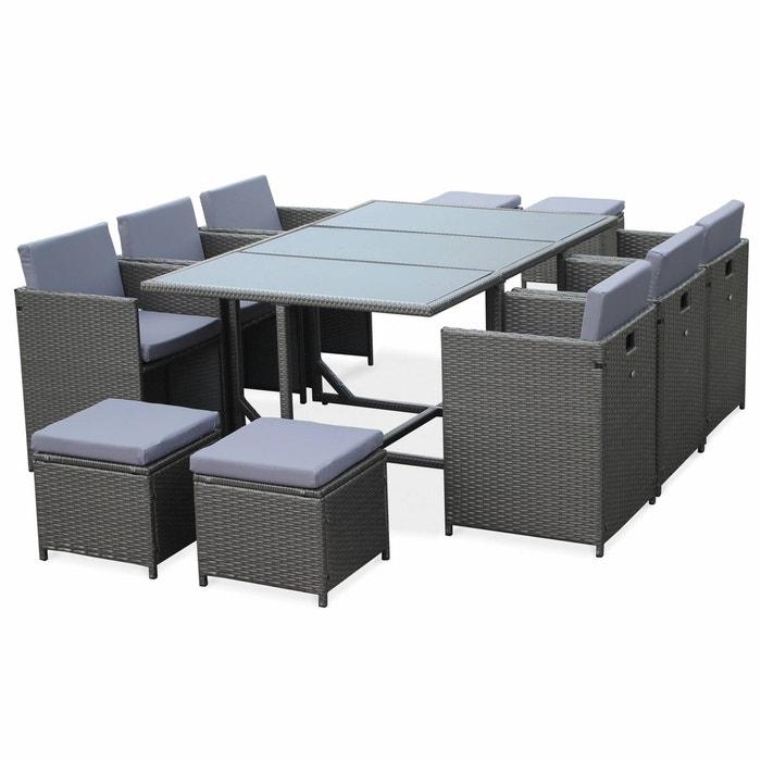Salon de jardin cubo table en résine tressée 6 à 10 places ...