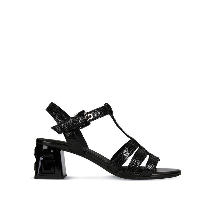 Sandales à talons respirantes en cuir seyla noir Geox   La