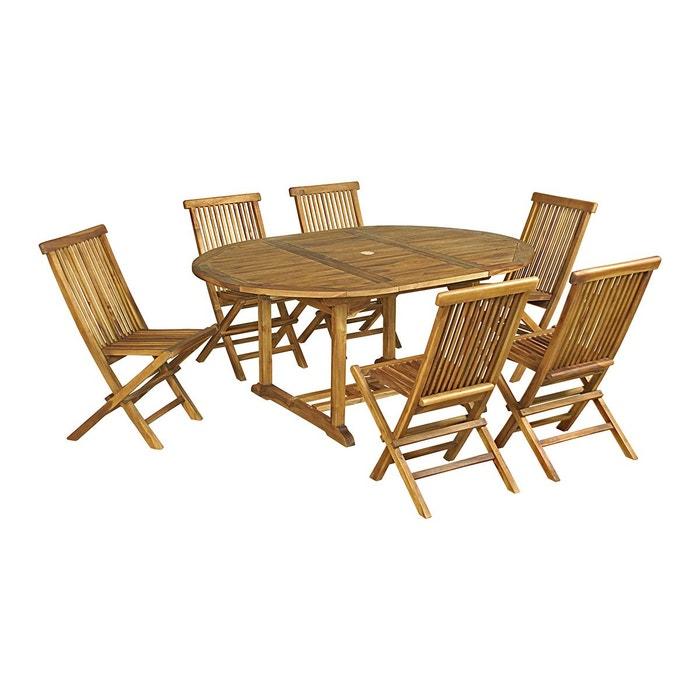 Salon de jardin 6 chaises en teck huilé