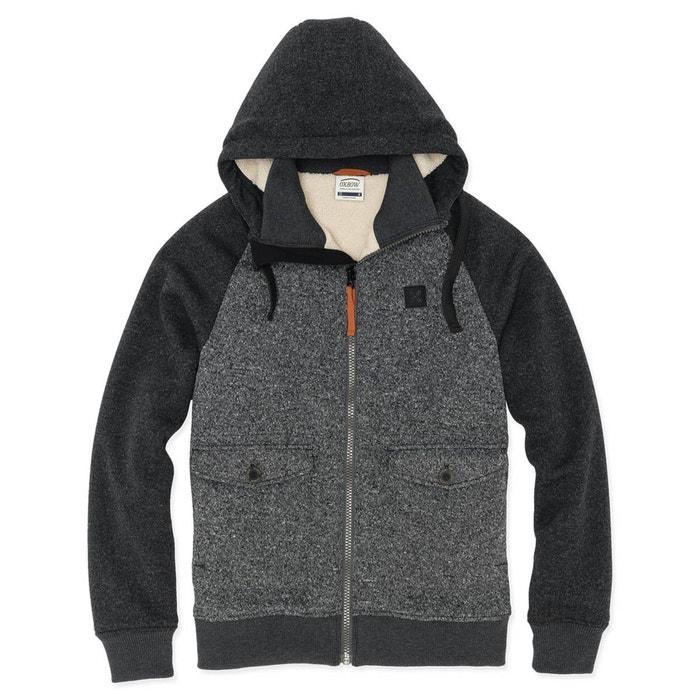 Veste polaire à capuche aspect lainage anthracite chiné