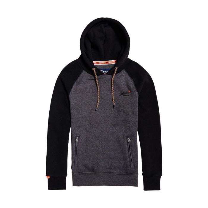 Sweat à capuche orange label classic gris, noir Superdry