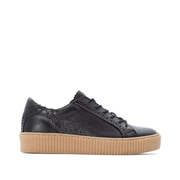 Leather platform trainers , black, La