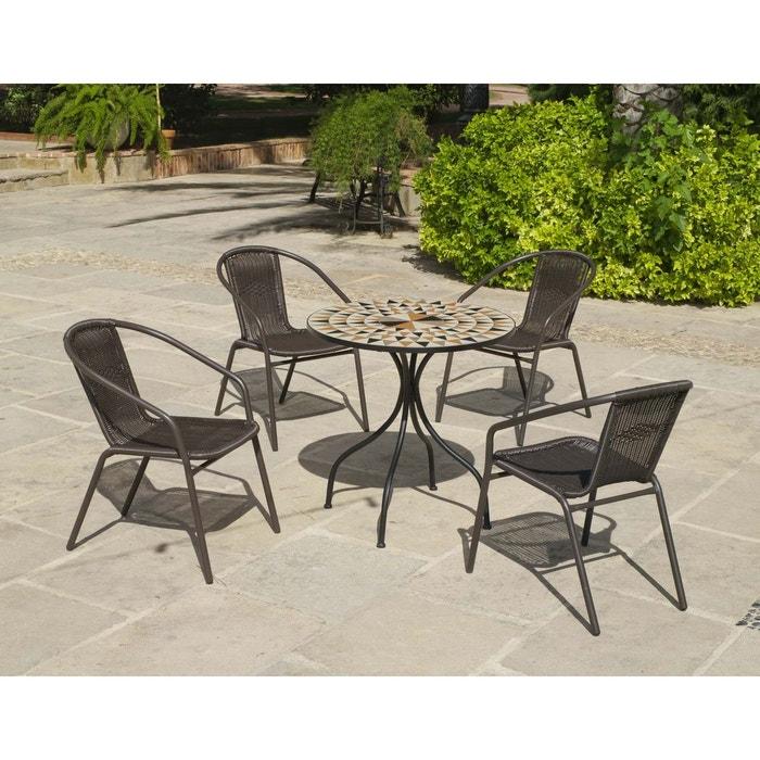 Salon de jardin table ronde mosaïque Albir Brasil