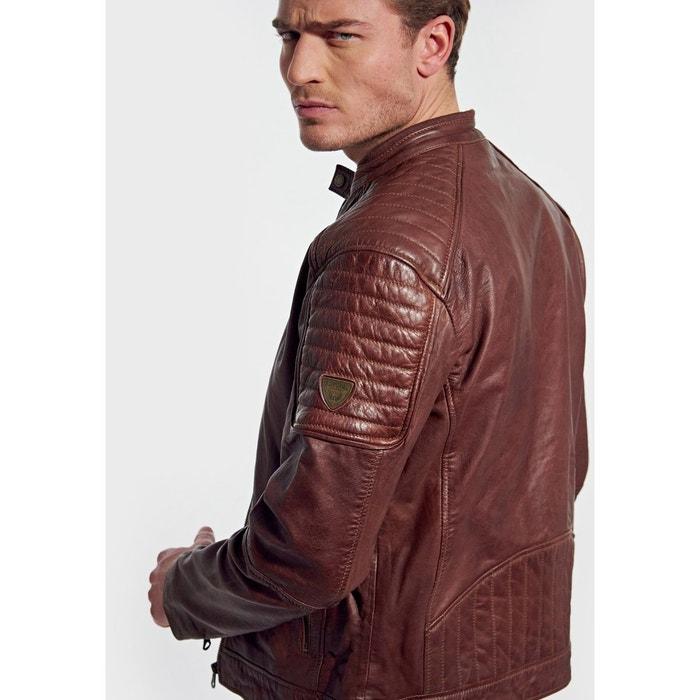 Veste en cuir, style motard, coupe droite cunte Kaporal | La