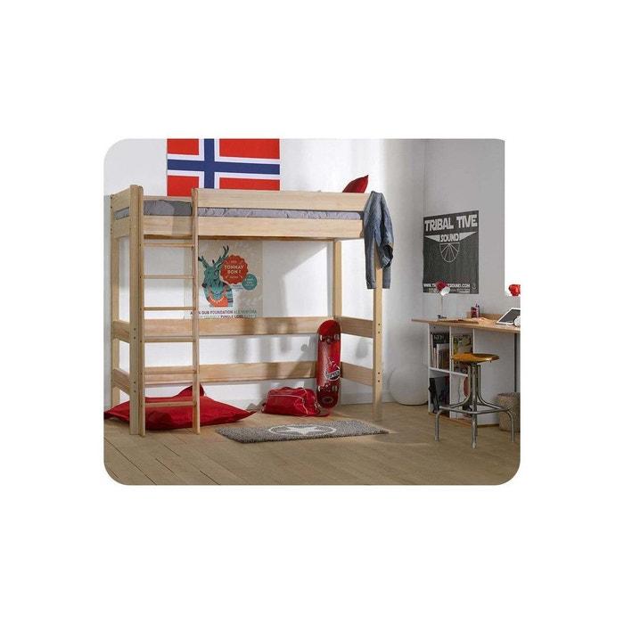 Pack Lit Mezzanine Enfant Clay 90x190 Cm Avec Matelas Marron