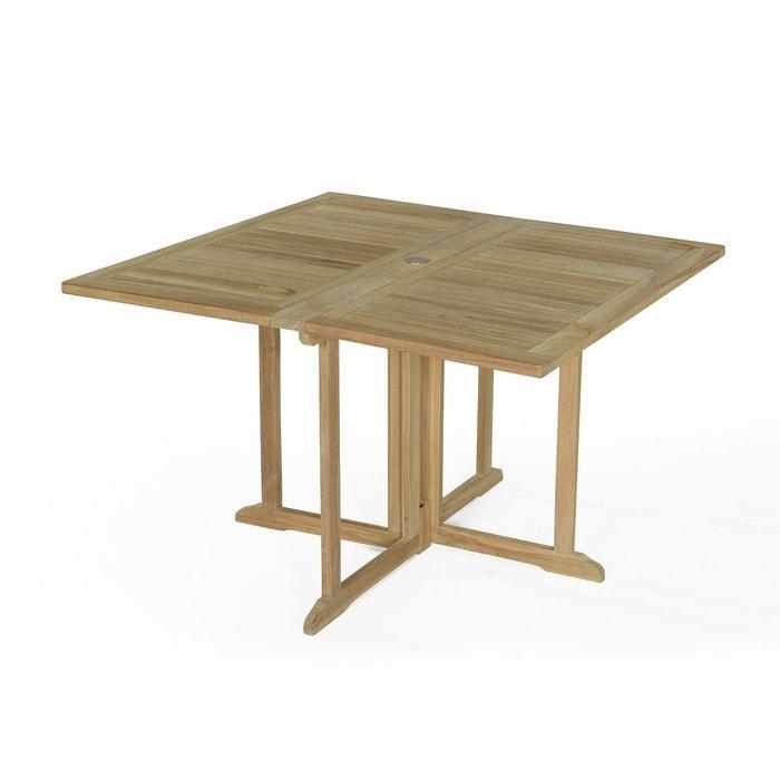 Table de jardin en teck pliable 120 x 120 cm - goa naturel ...
