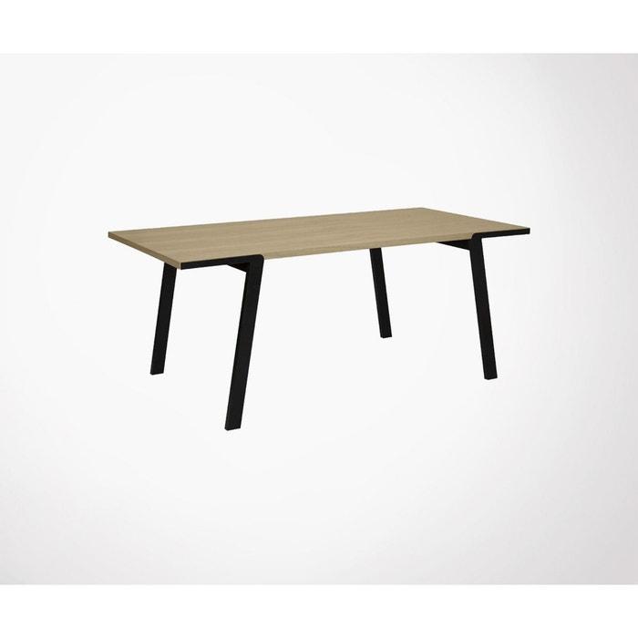 Table salle à manger plateau bois pieds métal drift beige ...
