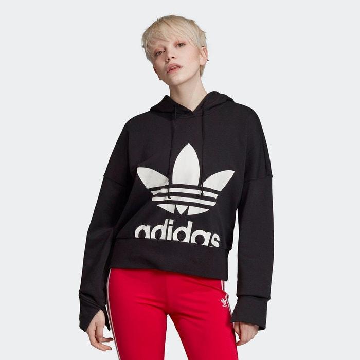 Sweat shirt à capuche cropped noir Adidas Originals | La Redoute