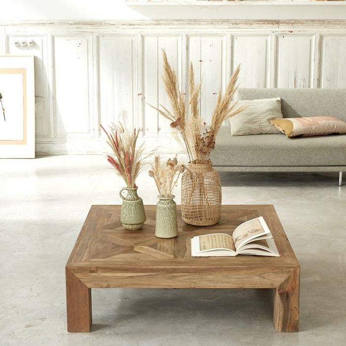 Table basse carrée en bois de teck recyclé