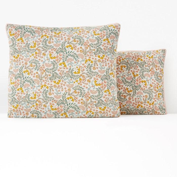 Taie d'oreiller coton lavé, majari imprimé fleurs La Redoute