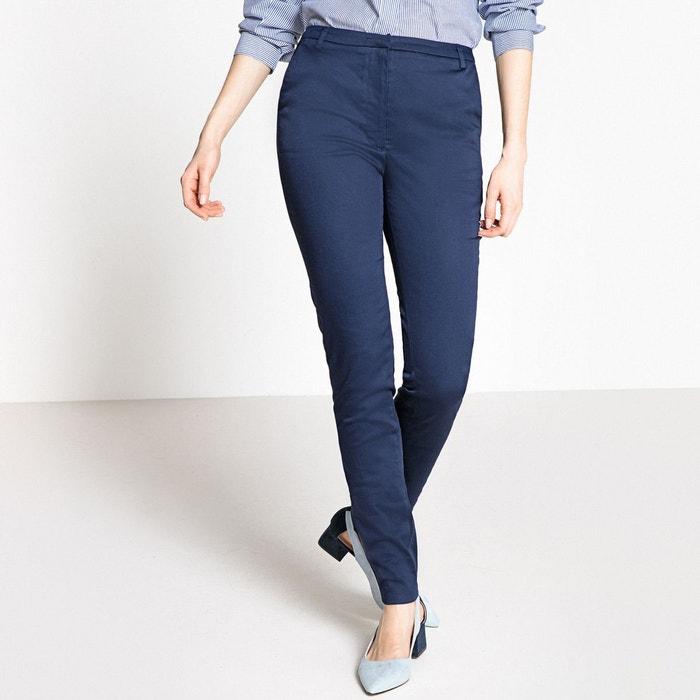 Pantalon slim satin de coton stretch