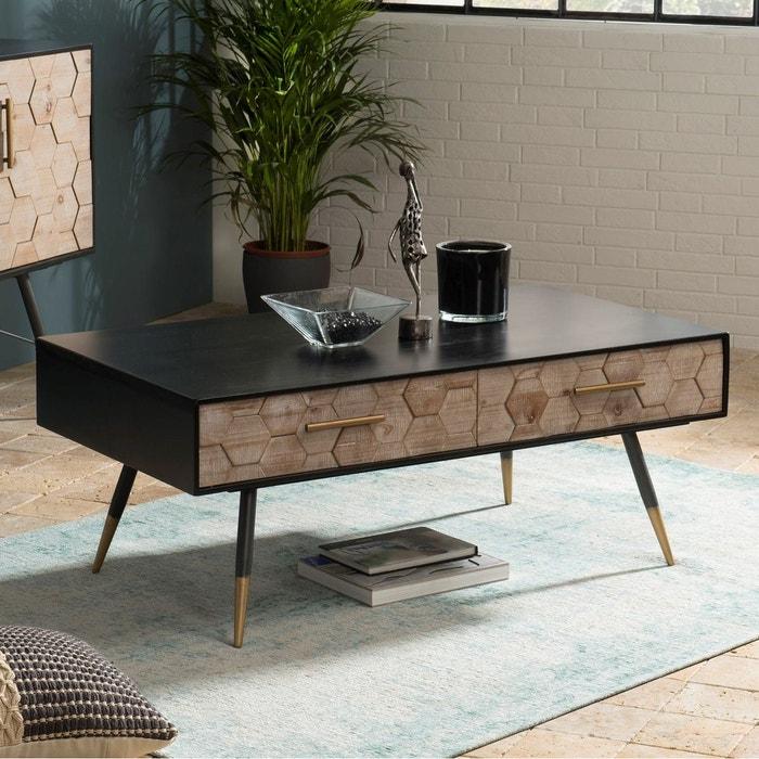 Table Basse Rectangulaire 2 Tiroirs Bois Noir Et Motif Nid D
