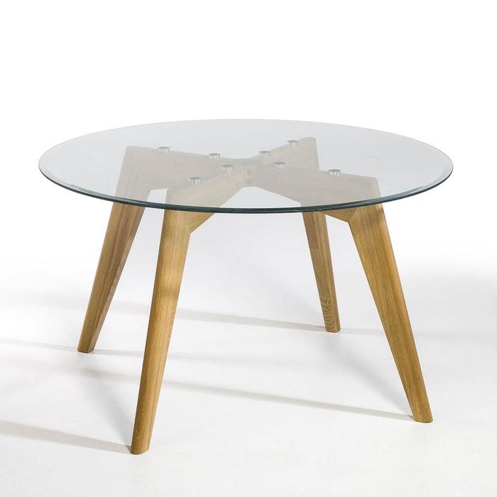 Table Ronde Verre Et Chene O130 Cm Kristal Chene Naturel Am