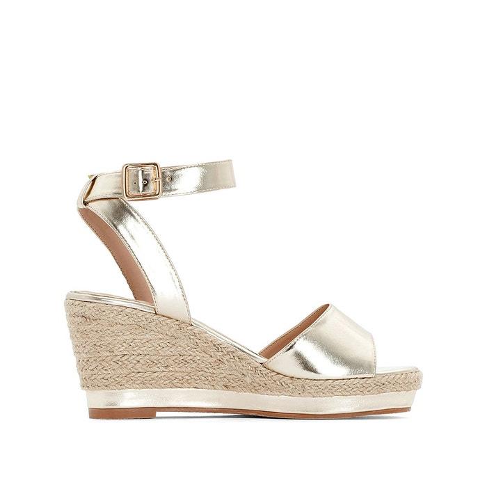 Sandales compensées métallisées pied large 38 45 doré La