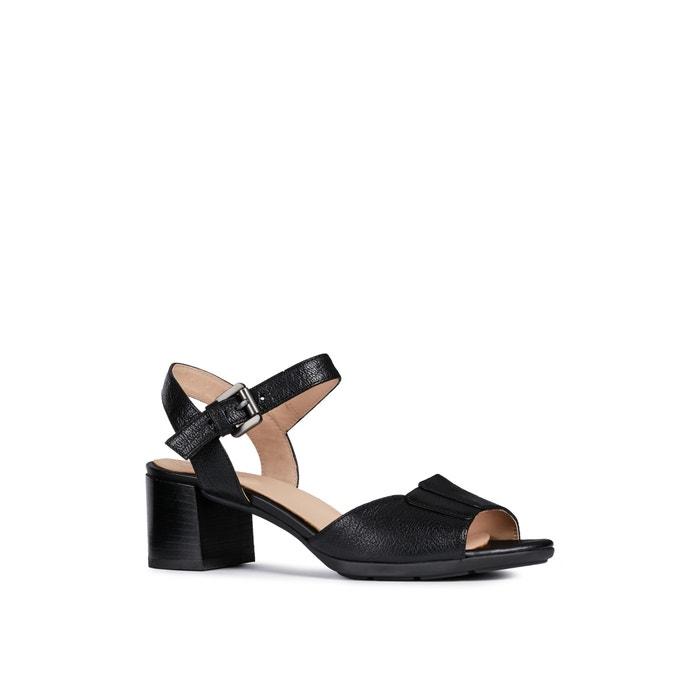 Sandalias de tacón, transpirables, de piel, marykarmen negro