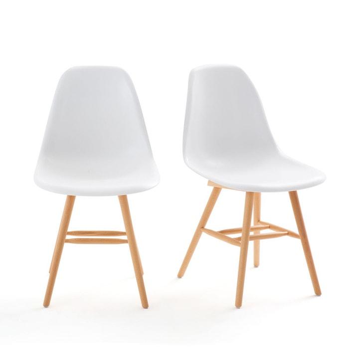 Lot de 2 chaises à coque plastique, jimi blanc La Redoute