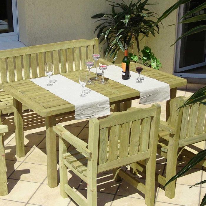 Salon de jardin en bois traité 1 banc 2 fauteuils 1 table rectangulaire,  Cortina