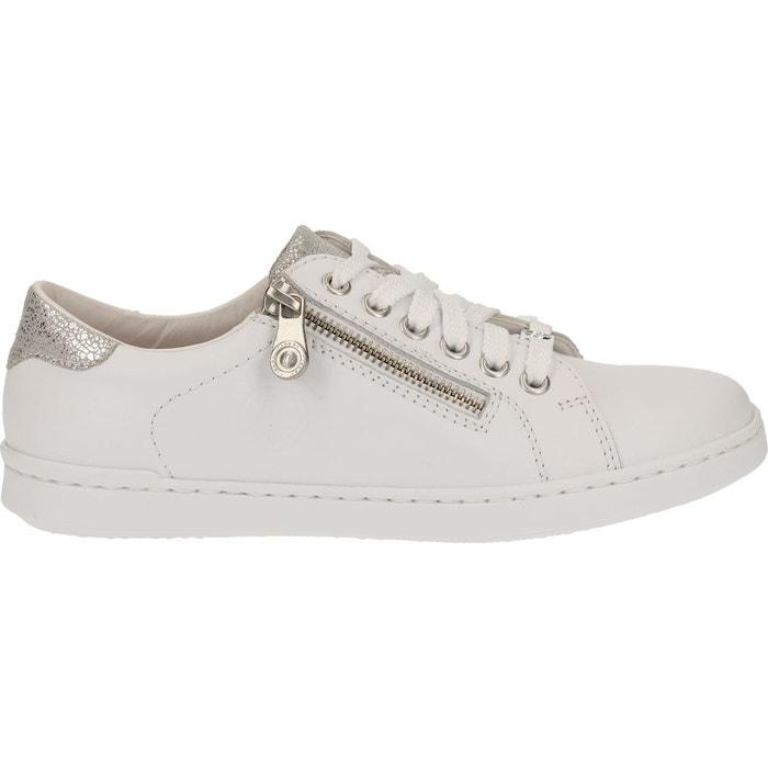 Sneaker cuir verni blanc Rieker   La Redoute