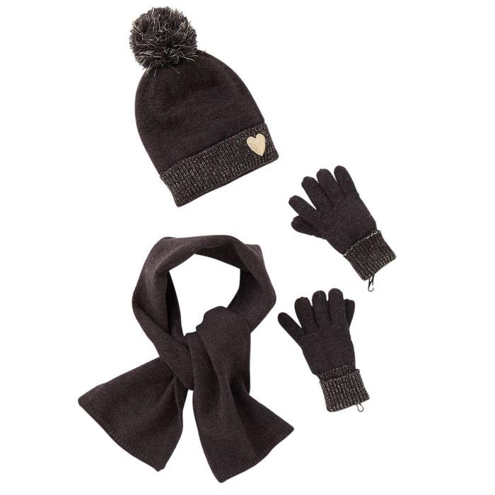 Ensemble fille bonnet + écharpe + gants détails fil brillant