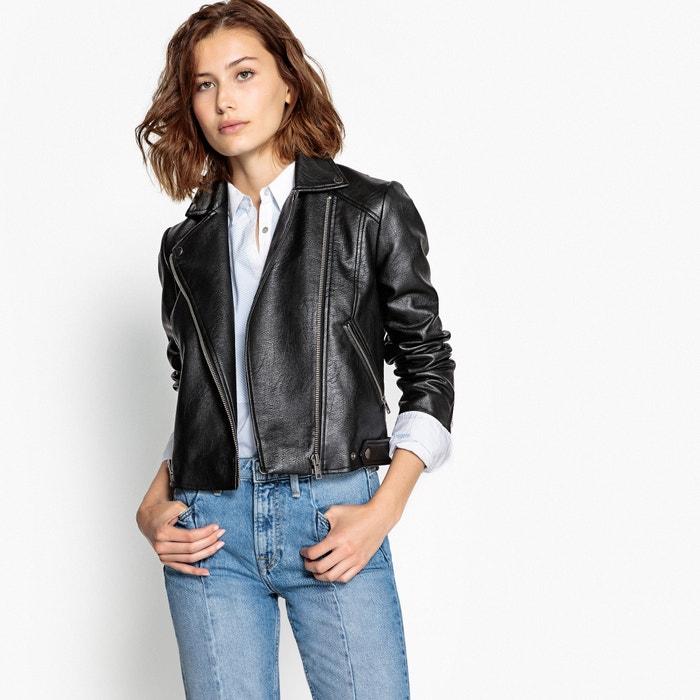 the best attitude b66b0 dfbb2 Faux leather biker jacket , black, Pepe Jeans | La Redoute