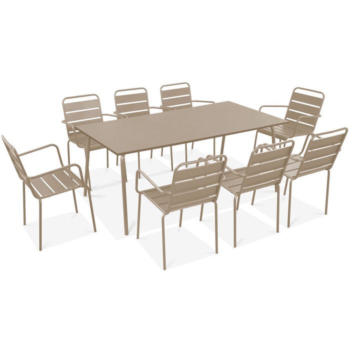 Table de jardin et 8 fauteuils en métal, palavas Oviala | La ...