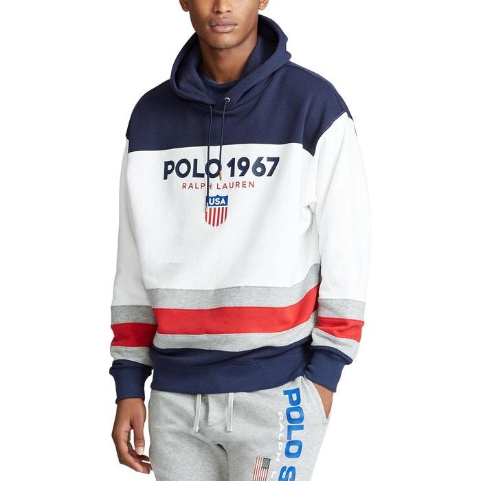 Sweat à capuche polo color block blanc bleu marine Polo