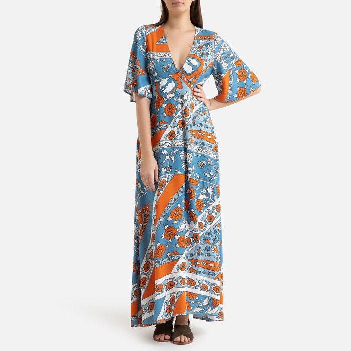 Robe Longue D Ete A Manches Courtes Leandra Bleu Orange Antik Batik La Redoute