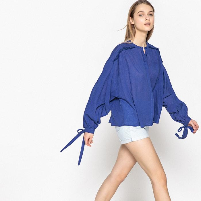 pretty nice 6761c 30609 Camicia ampia, maniche a sbuffo, puro cotone blu indaco La ...