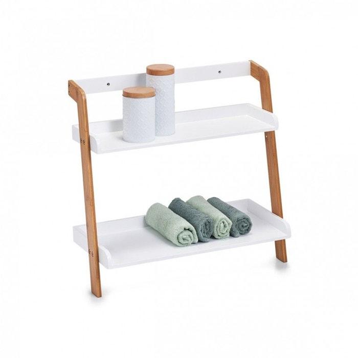 Petite étagère salle de bains bois bambou 2 tablettes