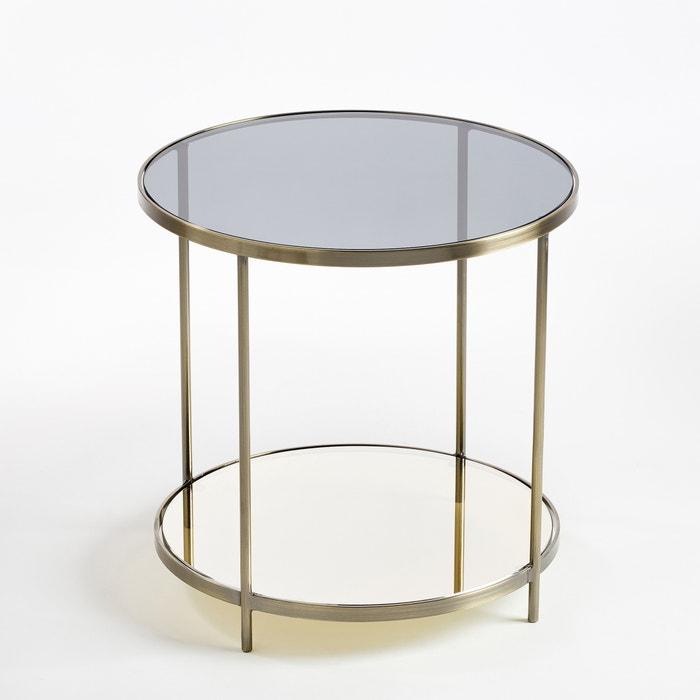 Ulupna Brass Glass Two Tier Round Side Table