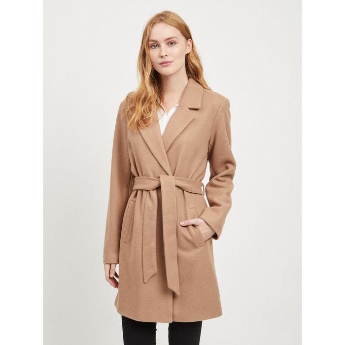 Manteau en drap de laine, ceinturé à la taille Vila | La Redoute