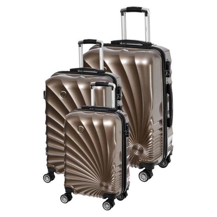 magasin en ligne 669c9 88107 MANOUKIAN Set de 3 Valises Chariot Rigide ABS et Polycarbonate 4 Roues  55-65-75cm MANOUKIAN 32 Champagne
