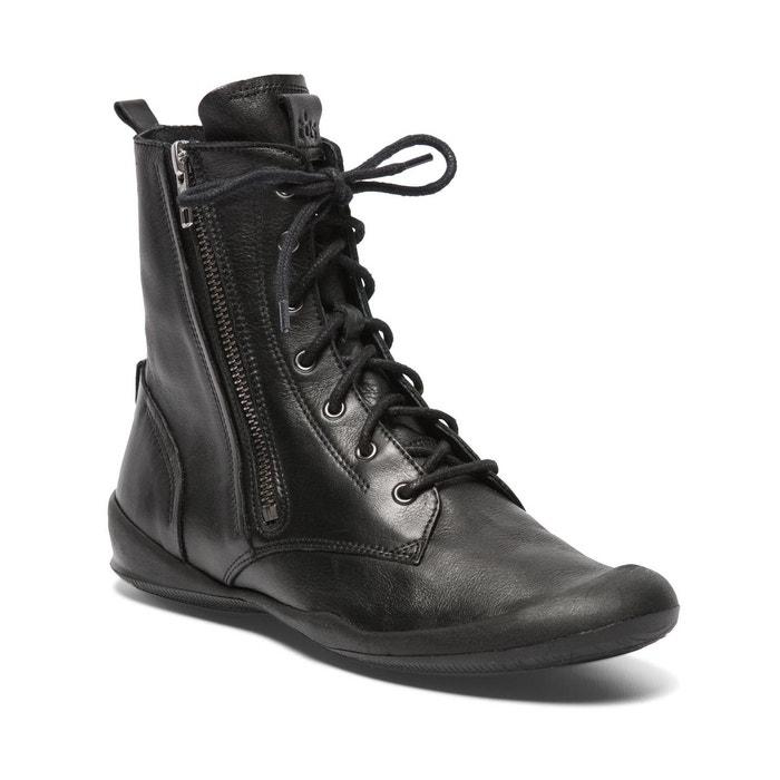 bottine à lacets boucles cuir noir tbs