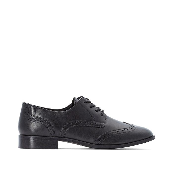 Wide fit leather brogues black La