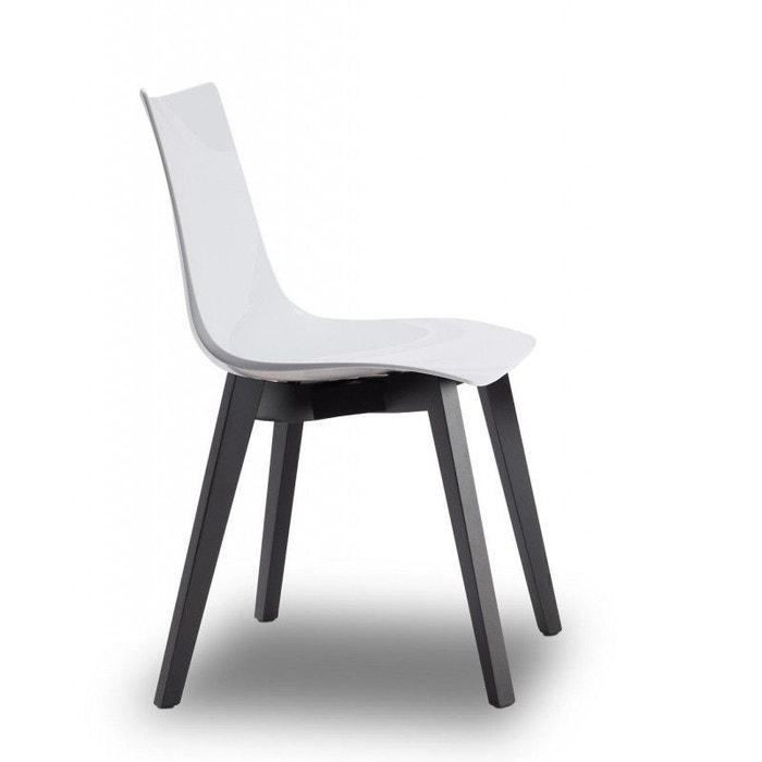 Chaise design avec pieds bois wengé NATURAL ZEBRA Antishock blanche Vendu à l'unité déco originale