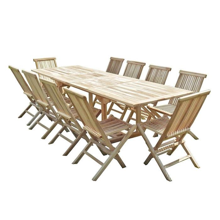 Salon de jardin en teck batan 10 chaises naturel C Et L ...